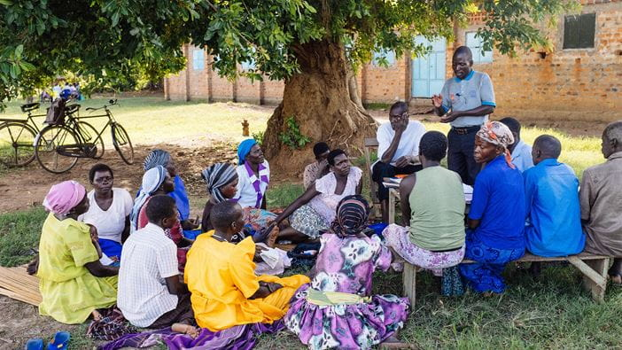 Community meeting in Uganda