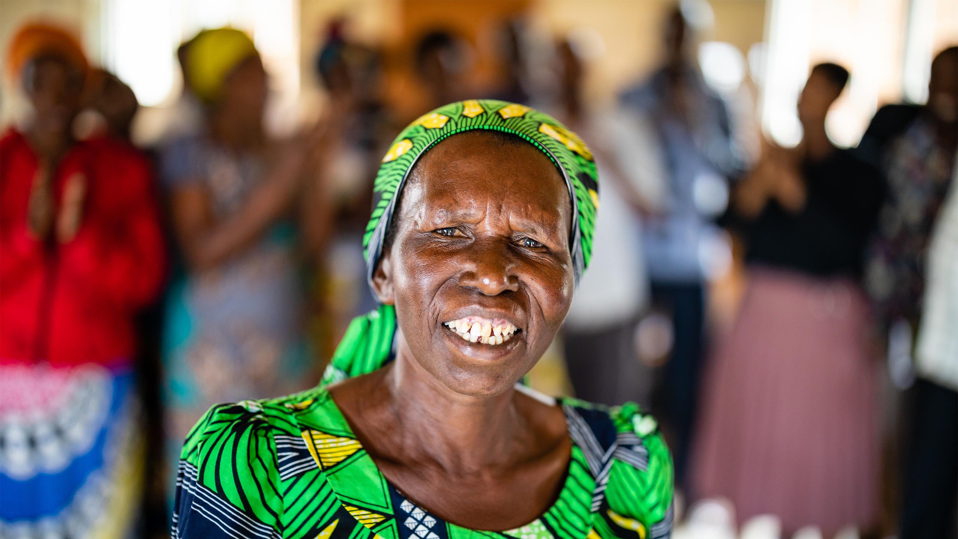 65 year old Valerie is a member of a self help group in Rwanda