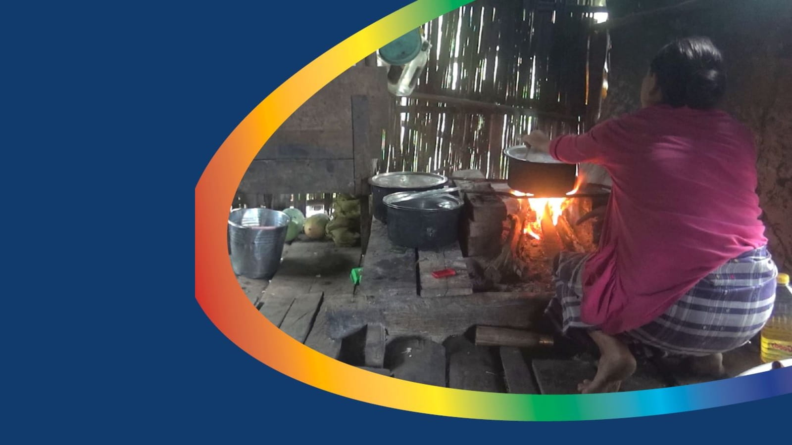 Cover image of a woman in Myanmar cooking on an inefficient wood-burning stove