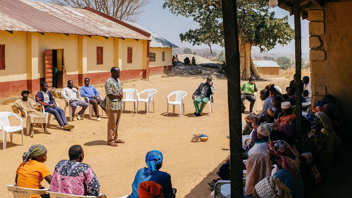 Village meeting in Nigeria for the Church Community Mobilisation Programme.